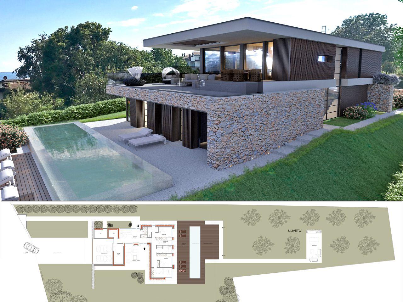 Massino visconti villa moderna vista lago con piscina for Progetto villa moderna nuova costruzione