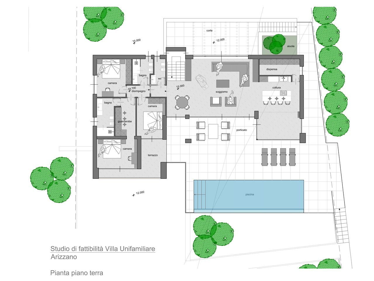 Arizzano villa moderna vista lago nuova con piscina for Piante ville moderne