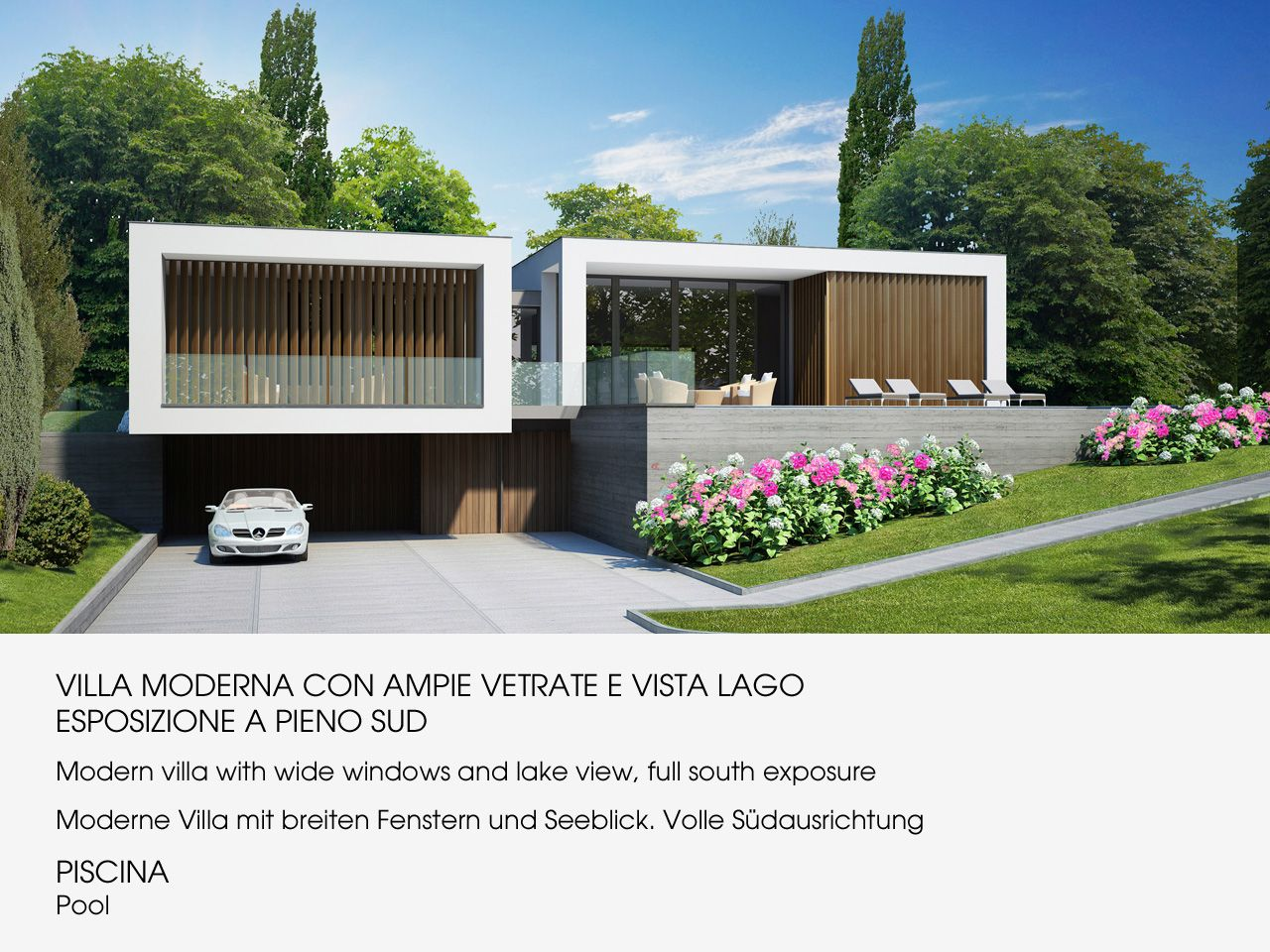 Arizzano villa moderna vista lago nuova con piscina for Giardini per ville moderne