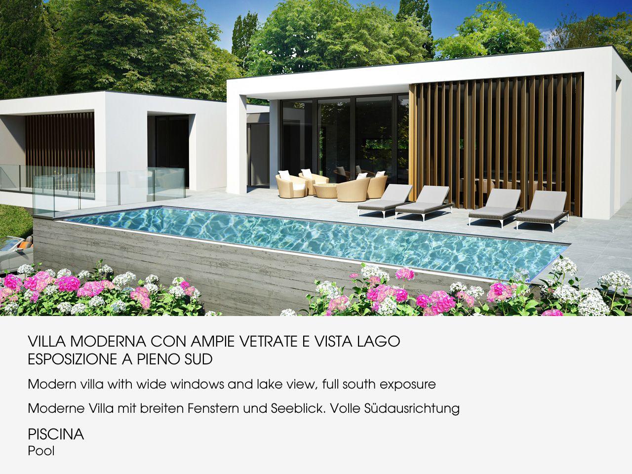 Arizzano villa moderna vista lago nuova con piscina for Disegni portico anteriore per case in stile ranch