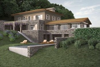 Verbania pallanza villa vista lago 450mq con piscina for Piani di piscina